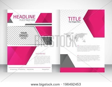 Flyer template place for pictures. Business brochure. Editable A4 poster for design education presentation website magazine cover. Pink color.