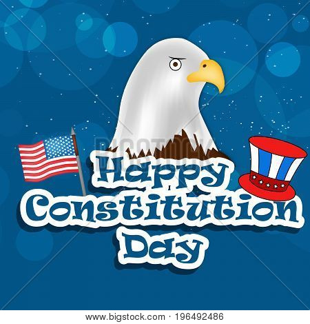 illustration of USA Flag Eagle and Hat with Happy Constitution Day text on the occasion of USA Constitution Day