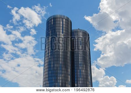 Riga Latvia - July 19 2017: Modern glass skyscrapers. Two round residential Z-Towers in the city center