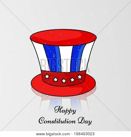 illustration of hat with Happy Constitution Day text on the occasion of USA constitution day
