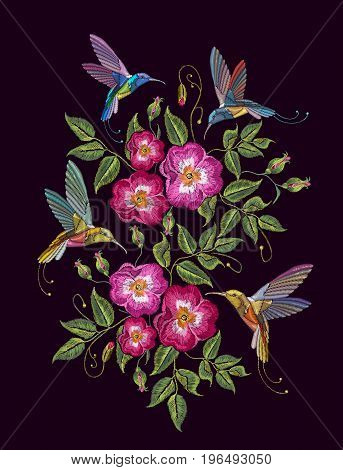 Humming birds and wild roses embroidery on black background. Elegant flowers dogrose and tropical humming bird vector. Decorative floral embroidery fashion template for clothes t-shirt design