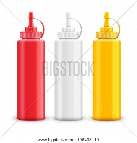 Vector condiment ketchup mayonnaise mustard. Food taste ingredient. Bottle or container red, white and yellow.