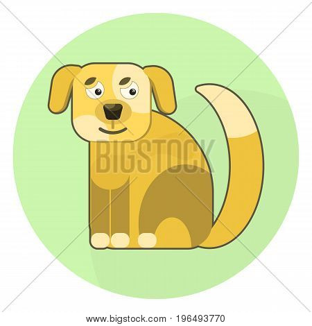 Flat vector brown cartoon dog icon. Cute pet domestic animal symbol for design web label logotype