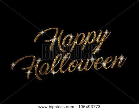 The golden glitter isolated hand writing word HAPPY HALLOWEEN on black blackground
