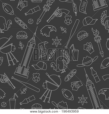 Seamless pattern on the theme of journey in the country of America simple contour white icons on dark background