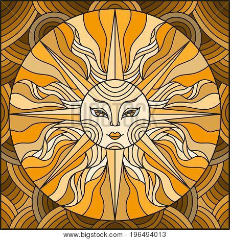 Illustration in the style of a stained glass window abstract sunbrown tonesepia