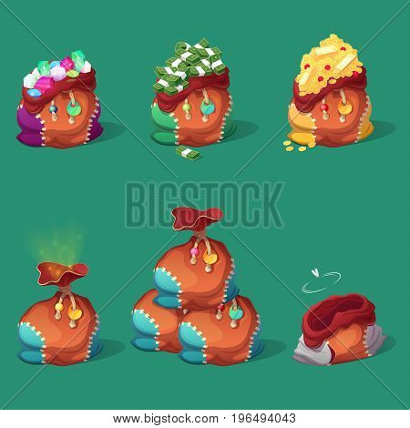 Bags with Money, Coins and Gold for Game Interface. Treasure, Banknotes and Diamonds Icons. Vector illustration