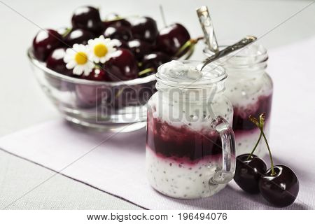 Yogurt With Chia Seeds And Fruit Filling, Healthy Breakfast Concept