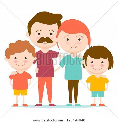 Small friendly family with 2 children and 2 parents hugging children.