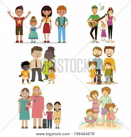 Set of 6 unusual families, vector illustration.