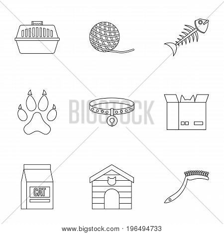 Cat toys icons set. Outline set of 9 cat toys vector icons for web isolated on white background