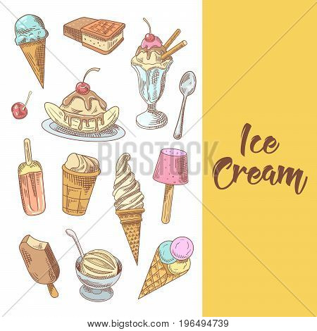 Ice Cream Hand Drawn Menu with Fruits and Chocolate. Cones and Waffles. Vector illustration