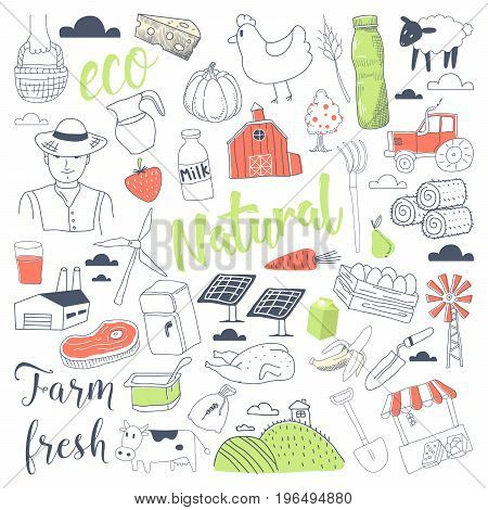 Farming Freehand Doodle with Natural Dairy Products. Farm Hand Drawn Elements Set. Vector illustration