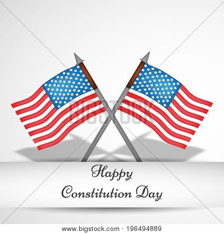 illustration of USA Flag with Happy Constitution Day text