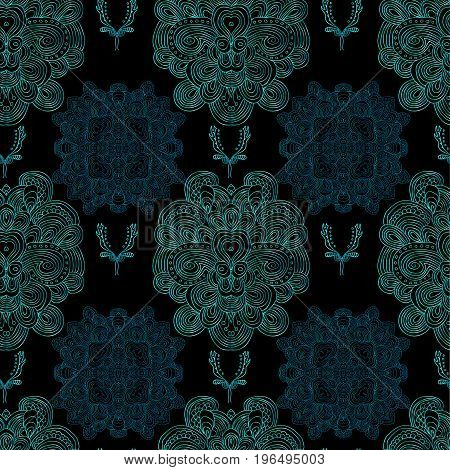 Raster blue damask pattern on black background.