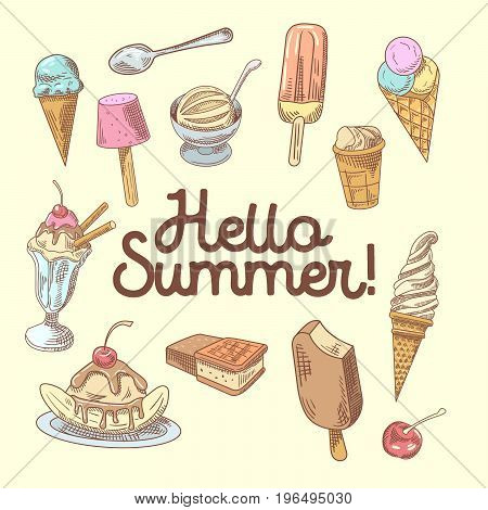 Ice Cream Hand Drawn Design with Fruits and Chocolate, Cones and Waffles. Hello Summer. Vector illustration