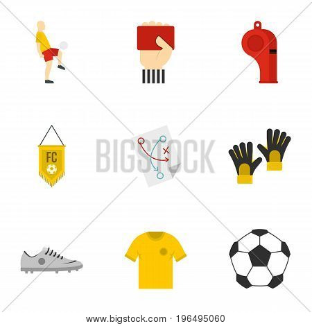 Football icons set. Flat set of 9 parts football icons for web isolated on white background