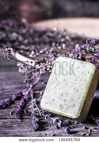 Spa Soap On Wooden Background