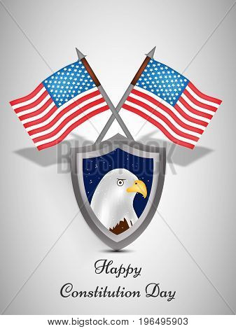 illustration of shield in Eagle background and USA Flags with Happy Constitution Day text on the occasion of USA Constitution Day