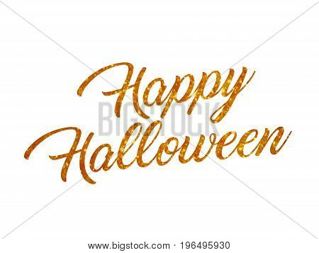 The orange glitter isolated hand writing word HAPPY HALLOWEEN on white blackground