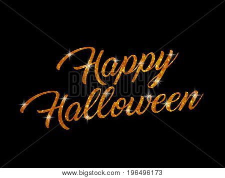 The orange glitter isolated hand writing word HAPPY HALLOWEEN on black blackground
