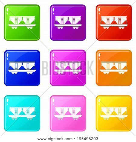 Freight railroad car icons of 9 color set isolated vector illustration