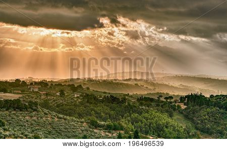 Gualdo Cattaneo, Perugia, Umbria, Italy: landscape at morning of the countryside under a dramatic cloudy sky
