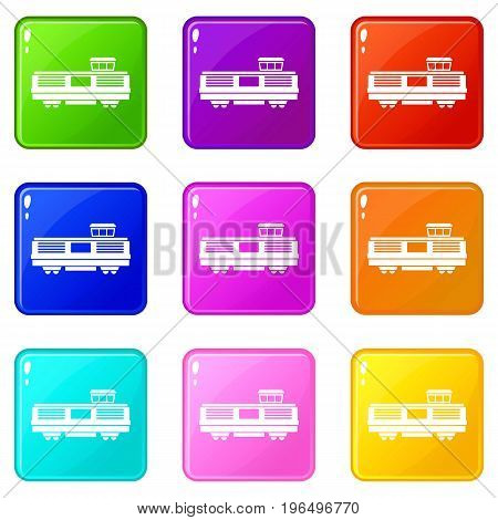 Freight train icons of 9 color set isolated vector illustration