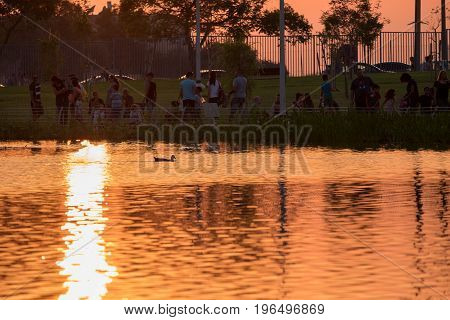 People Near Childs Park Pond At Sunset