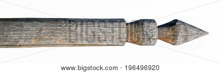 Wooden carved ceremonial post, isolated on white