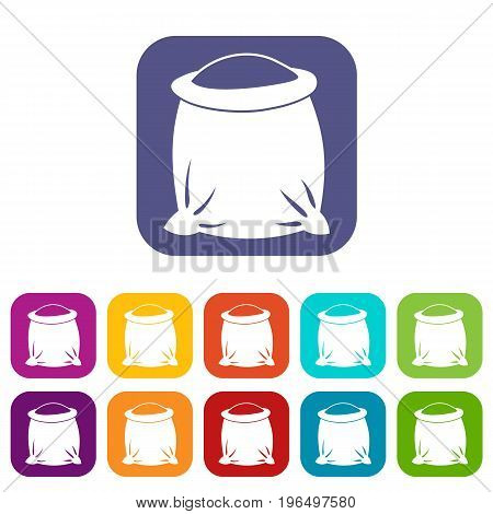 Sack full of flour icons set vector illustration in flat style in colors red, blue, green, and other