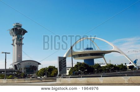 Air traffic control tower at Los Angeles International Airport poster