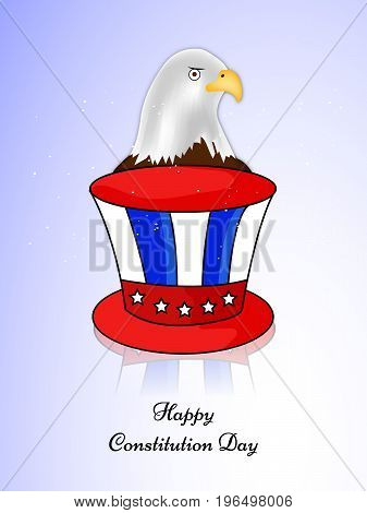illustration of Eagle and hat with Happy Constitution Day text on the occasion of USA Constitution Day