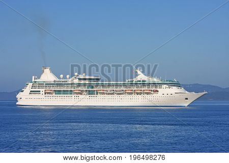 Cruise liner sailing in the Haro Strait off Vancouver Island