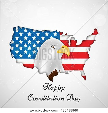 illustration of Eagle and USA map with Happy Constitution Day text on the occasion of USA Constitution Day