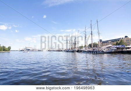 THE TALL SHIPS RACES KOTKA 2017. Kotka, Finland 16.07.2017. Yachts on the water at the blue sky background.