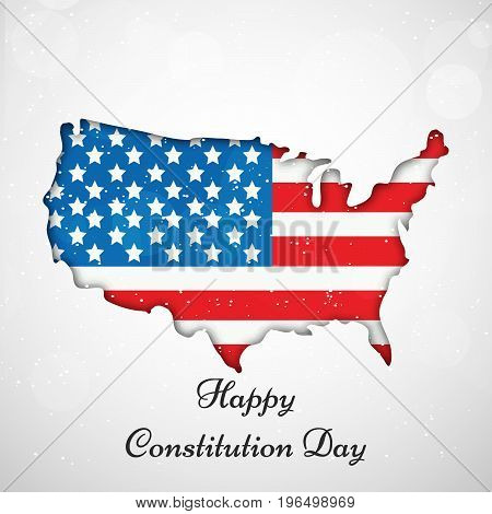 illustration of USA map with Happy Constitution Day text on the occasion of USA Constitution Day