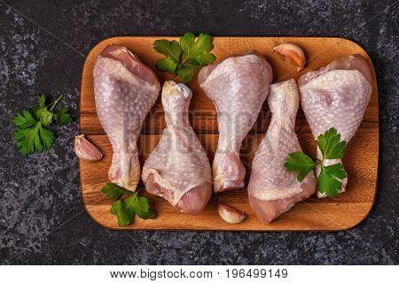 Raw Chicken Legs, Top View.