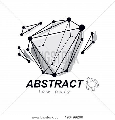 Abstract three-dimensional shape vector design element. Innovation technologies abstract emblem.