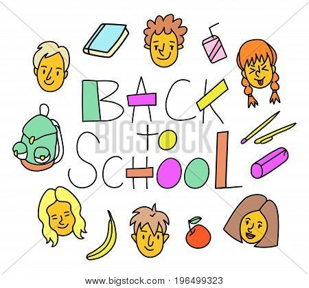 Back to school linear lettering. Happy smiling kids and studying objects (juice banana apple stationery pen notebook pencil box backpack). 80s/90s style funny cartoon style children characters.