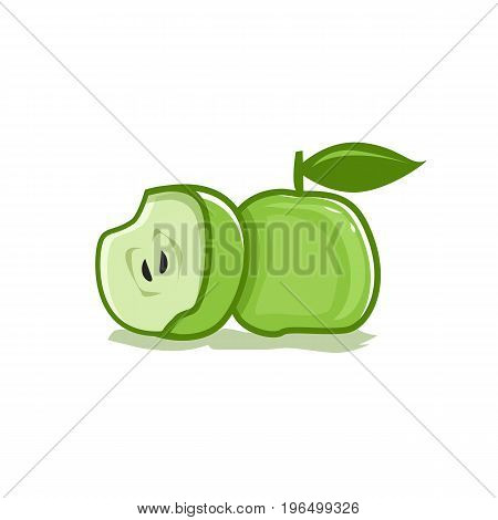 green apple and half illustration. isolated on white background.
