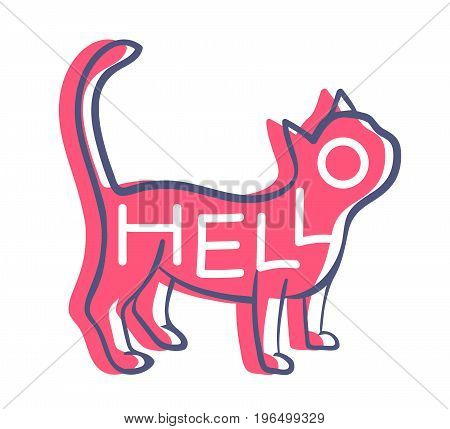 Stylish welcome greeting card with lettering in red cat shape isolated on white background. Kitten symbol with moved black contour. Friendly pet illustration. Kitty saying hello. Domestic animal icon.