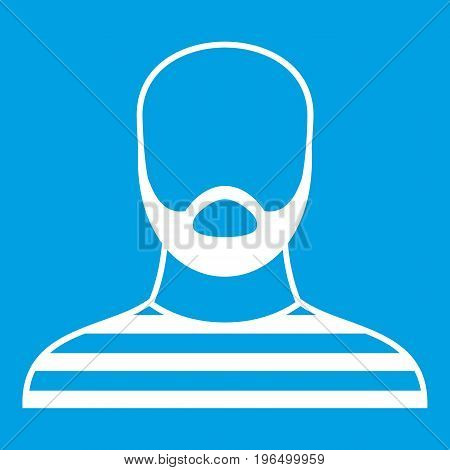 Bearded man in prison garb icon white isolated on blue background vector illustration