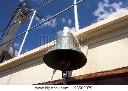 Navy ship bell of the icebreaker Tarmo. Kotka, Finland 16.07.2017.