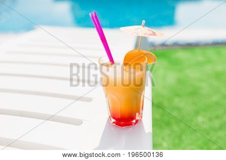 Cocktail On The Pool Party. Summer Concept