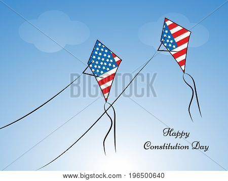 illustration of kites in USA flag background with Happy Constitution Day text on the occasion of USA Constitution Day