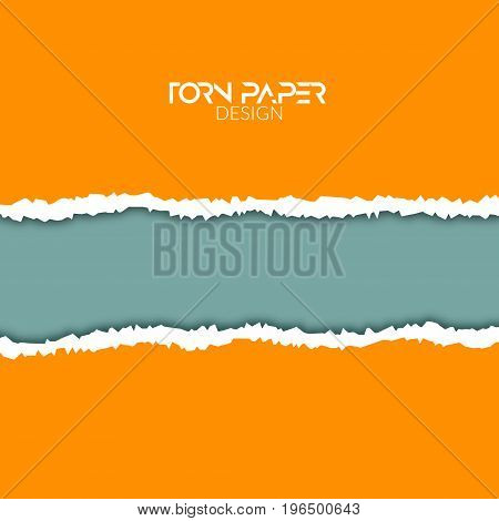 Torn paper vector background. Ripped edge design of torn paper illustration or banner with shadow.