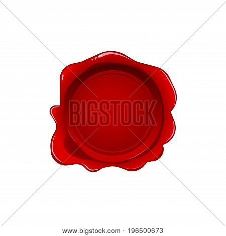 Red wax seal isolated on white background. Vector stamp. Realistic red label for letter document.