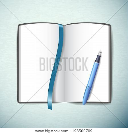 Opened blank sketchbook with pen and bookmark in blue color on light background flat vector illustration
