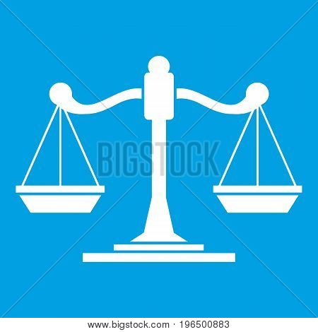 Scales of justice icon white isolated on blue background vector illustration